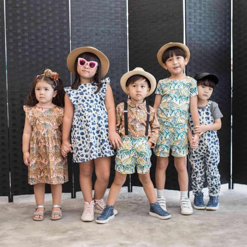 Five kids modelling Hunter + Boo clothing