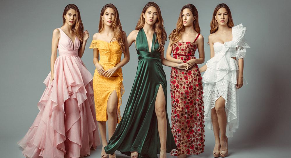 Five models wearing Rentadella dress rental