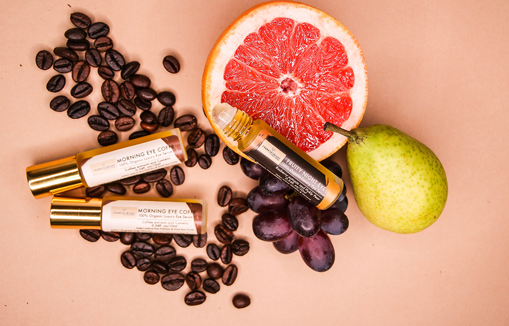 FrankSkincare products, a grapefruit and a pear
