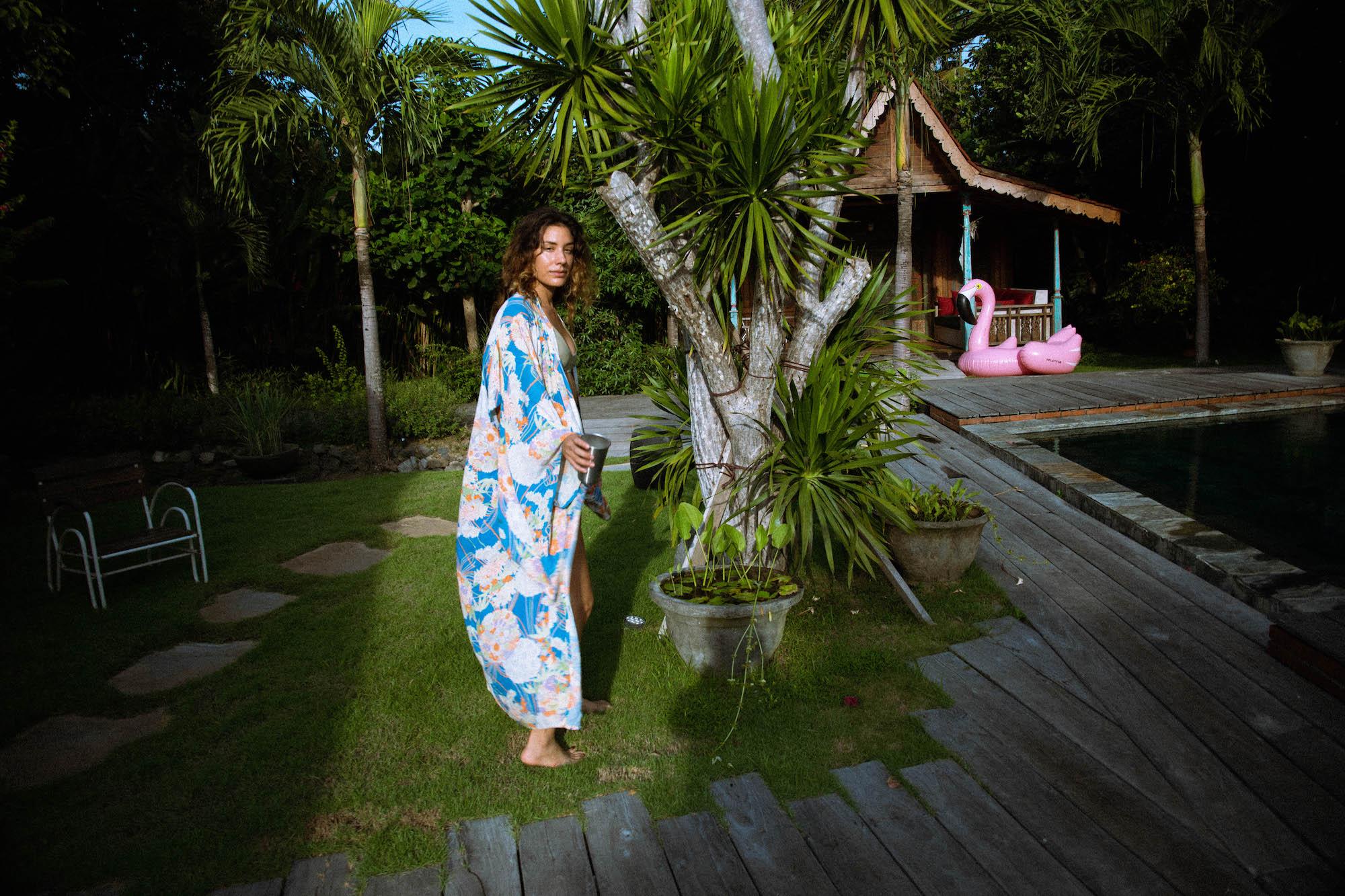 Girl wearing kimono and trees