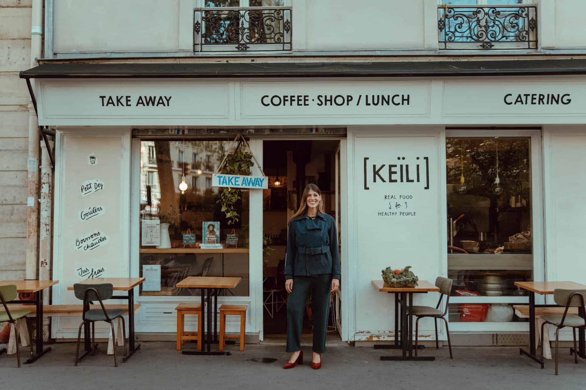 Caleigh Megless Schmidt outside Keili cafe