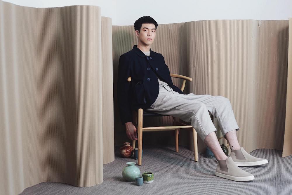 Man modelling Graye Studio: sustainable fashion brand